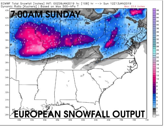 european snowfall output sunday morning